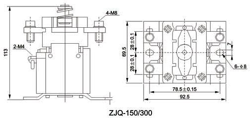 用途 ZJQ300系列直流接触器可广泛应用于蓄电池车辆作起动、停止、调速和牵引机车、矿山机械、石油化工、冶金船舶、电信、计算机等领域的电源切换及不间断电源系统,该产品符合JB3974 - 85《蓄电池车辆用直流电器基本技术条件》及邮电部YD/T585 - 92《通信用配电设备》,YD/T512 - 92《电报电源设备技术条件》等标准。 型号含义