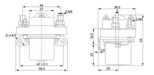 ZJ-50直流接触器外形尺寸图