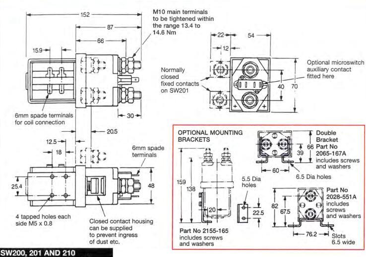 产品用途 SW200设计用于直流负载,包括用于电动车辆(如工业卡车)的电机。针对中断和不间断负载开发,SW200适用于开关电阻,电容和电感负载。SW200具有单刀单掷,双断口主触点和银合金尖端,耐焊接,耐磨损并具有优异的导电性。SW200具有M10螺柱主端子和6.3mm的黑色线圈连接。它可以通过M5螺纹孔或安装支架进行安装 - 可以提供安装,也可以单独安装。安装可以是水平或垂直的,垂直时M10接触螺栓应该朝上。如果要求向下定位,我们可以调整接触器来弥补这一点。 技术数据